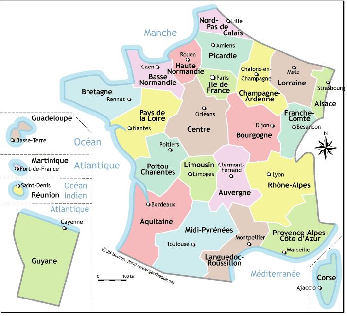 Carte De France Avec Region Et Leur Capital